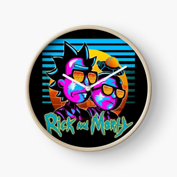 Rick and Morty Outrun Style  Clock