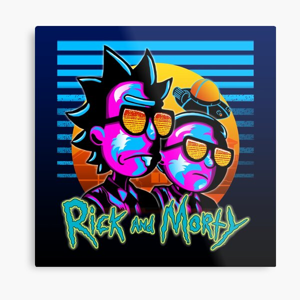 Rick and Morty Outrun Style Poster Print Art Metal Print