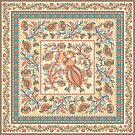 Quadratisches dekoratives Design mit Vogel, Blumenzweigen, Verzierungen und Rahmen. Indischer Stil. Kalamkari. von Skaska