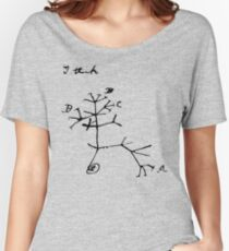 Darwin I Think Tree (Black) Women's Relaxed Fit T-Shirt