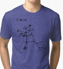Darwin I Think Tree (Black) Tri-blend T-Shirt