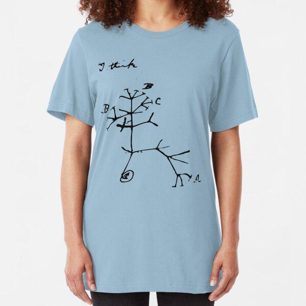 Darwin I Think Tree (Black) Slim Fit T-Shirt