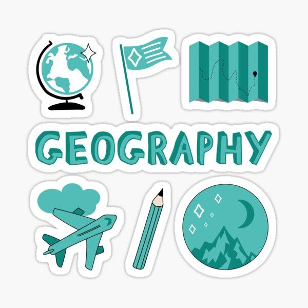 Blaugrün Geographie Schulfach Sticker Pack Sticker