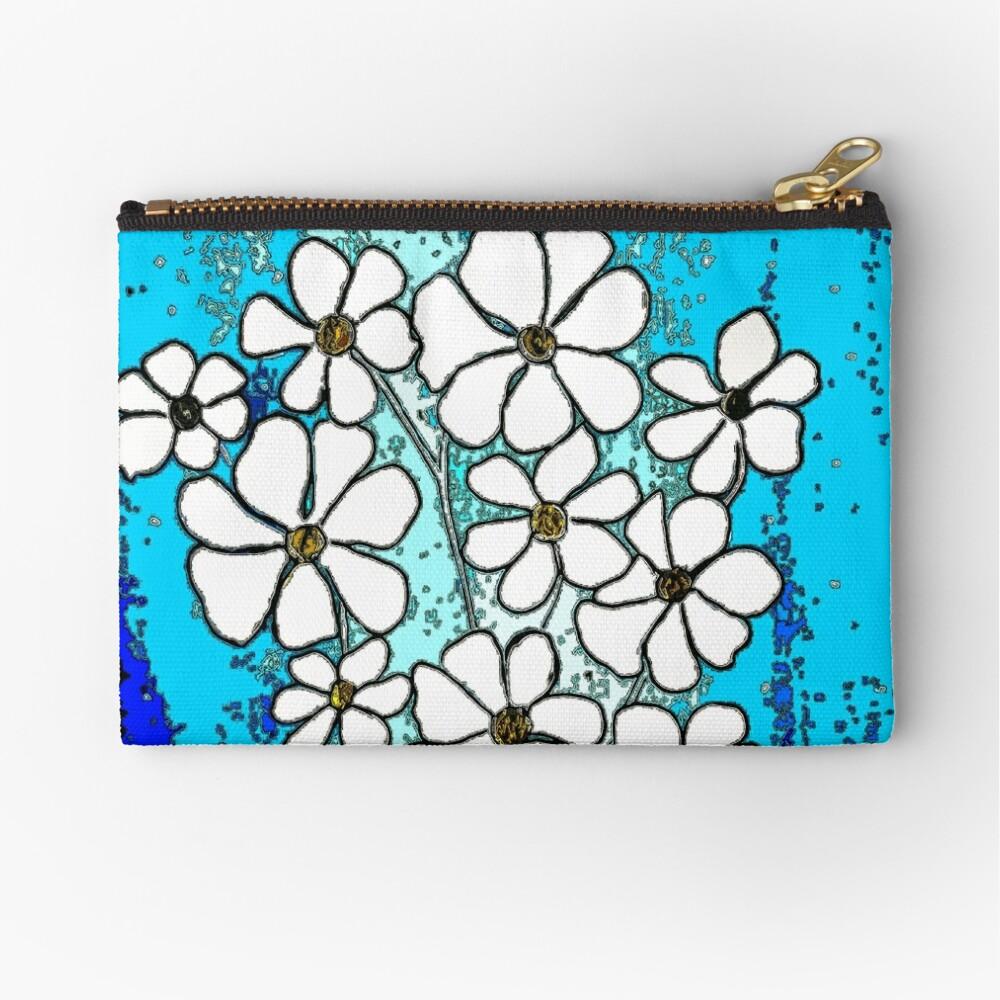 Flowers in Blue Zipper Pouch