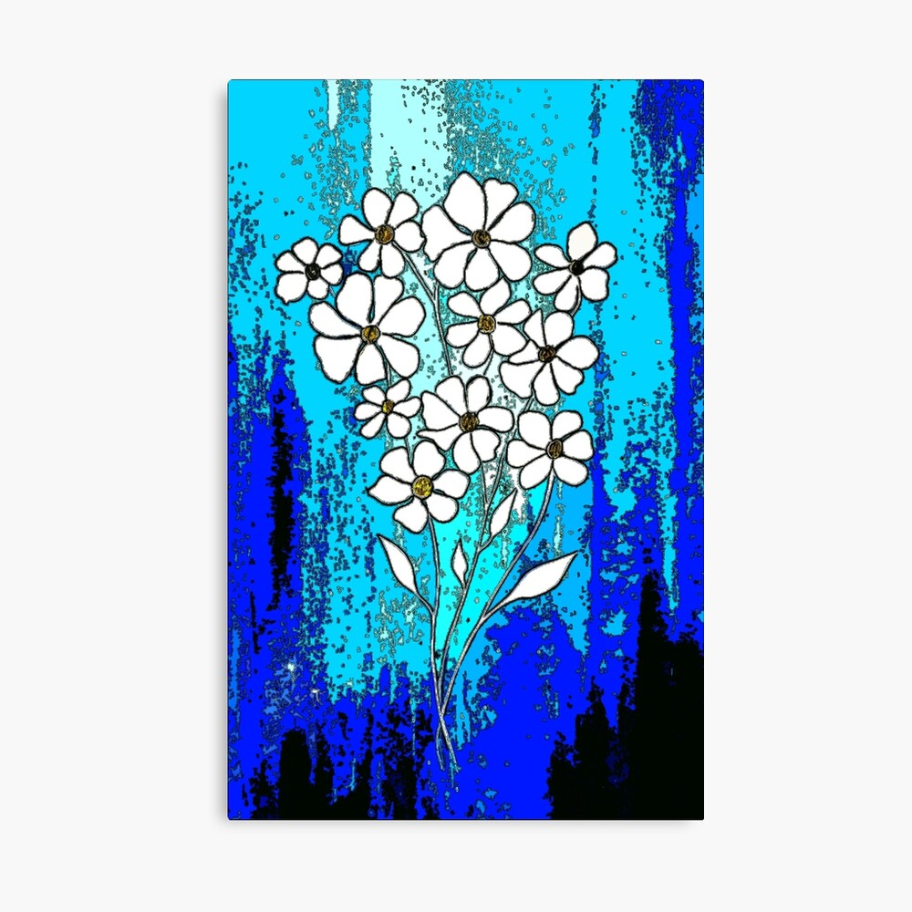 Flowers in Blue Canvas Print