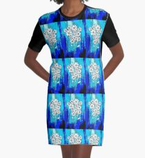 Flowers in Blue Graphic T-Shirt Dress