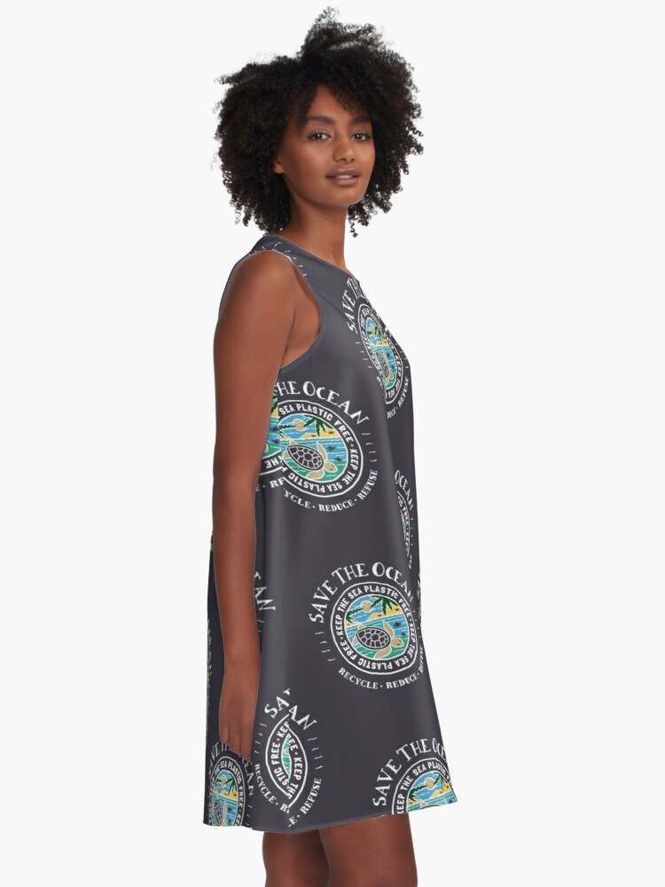 Alternate view of Save The Ocean Keep the Sea Plastic Free Turtle Scene A-Line Dress