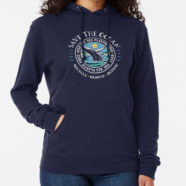 Save The Ocean - Keep the Sea Plastic Free - Humpback Whale Lightweight Hoodie