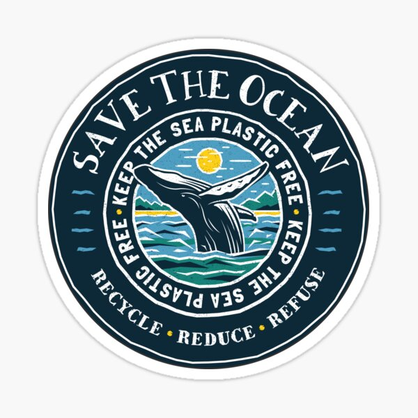 Save The Ocean - Keep the Sea Plastic Free - Humpback Whale Sticker