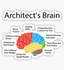 Funny Architect's Brain Architecture Students Gifts Sticker