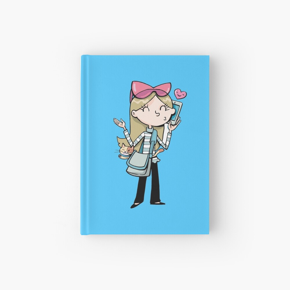 girl talks to a mobile phone and carries a cat in a bag Hardcover Journal