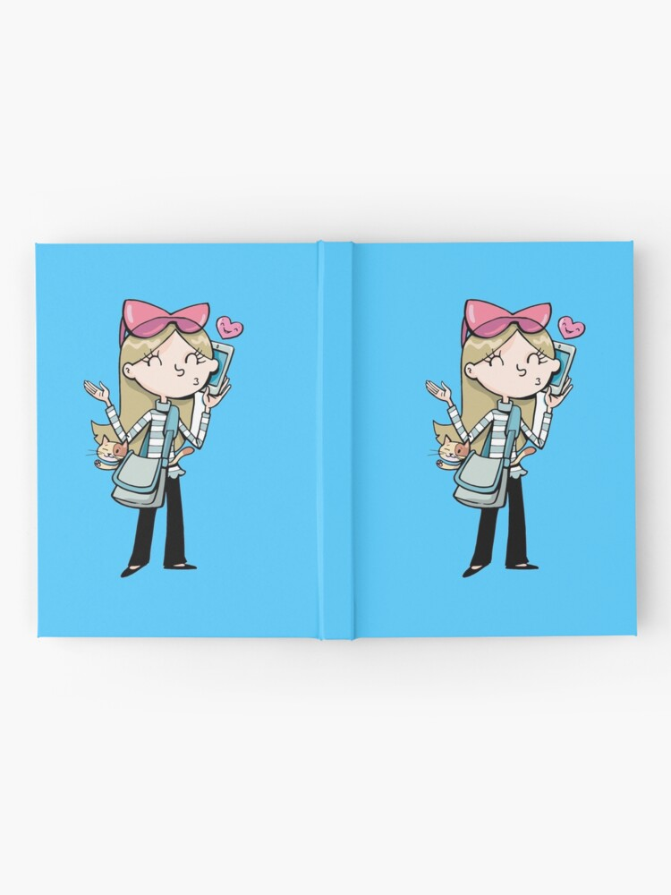 Alternate view of girl talks to a mobile phone and carries a cat in a bag Hardcover Journal