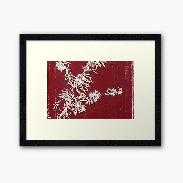 white calligraphy Framed Art Print