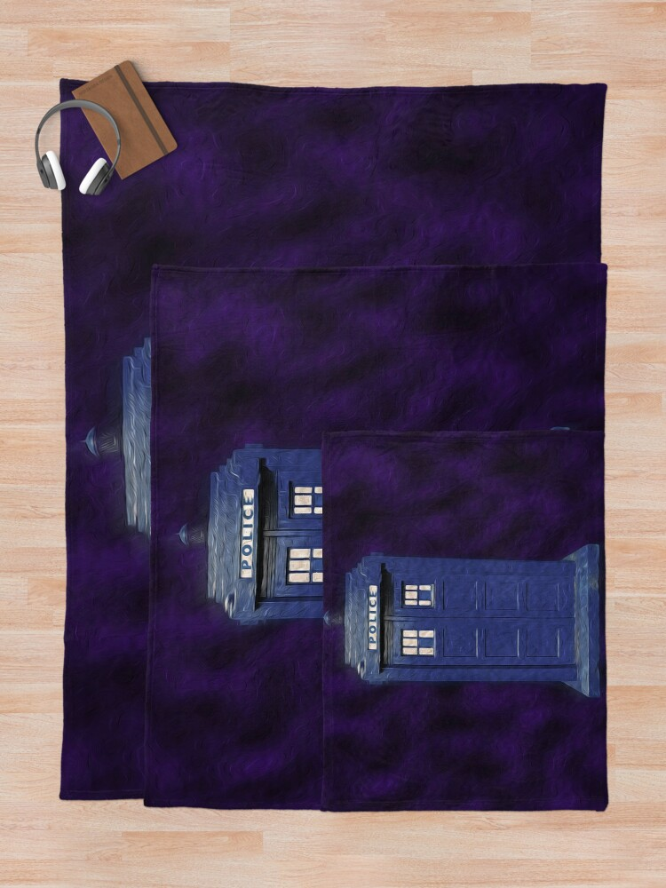Alternate view of Dr Who Tardis Digital Art Throw Blanket
