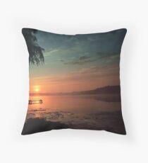 Sunset Over the Dock Throw Pillow