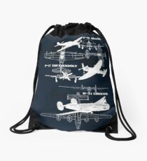 Three Planes (White Vers.) Drawstring Bag