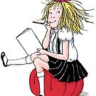 Eloise thinking about what to write by EloiseandWeenie