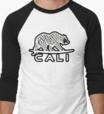 Cali Bear White with Black Men's Baseball ¾ T-Shirt