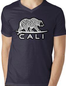 Cali Bear White with Black Mens V-Neck T-Shirt