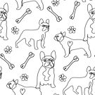 Frenchie Line drawing, french bulldog line art, dog  pattern, dog, black and white dog, simple minimal dog by PetFriendly