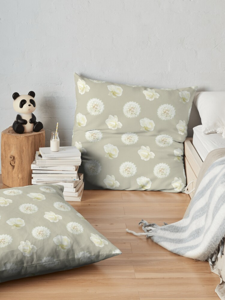 Alternate view of Polka Dandelions and Roses (Cream) Floor Pillow