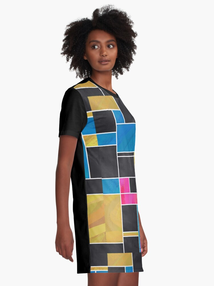 Alternate view of Mondrian Blue Pink Black  Graphic T-Shirt Dress