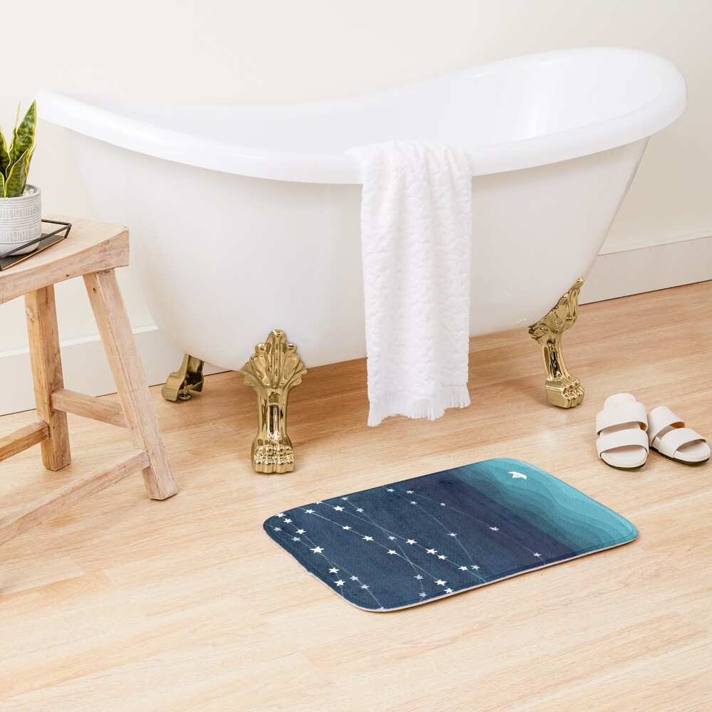 Garland of stars, teal ocean Bath Mat