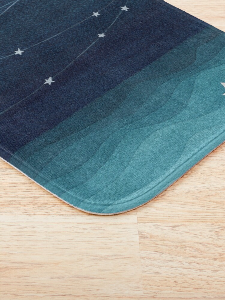 Alternate view of Garland of stars, teal ocean Bath Mat