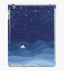 blue ocean waves, sailboat ocean stars iPad Case/Skin