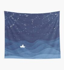 blue ocean waves, sailboat ocean stars Wall Tapestry