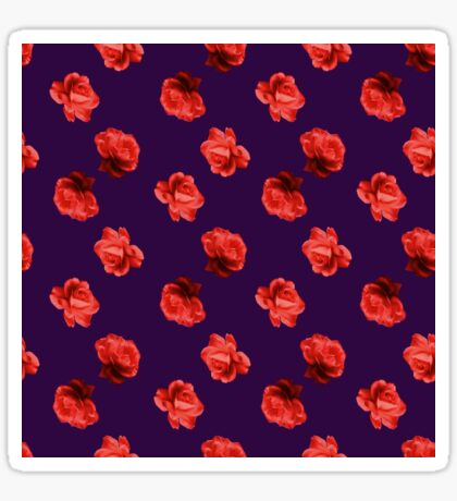 Polka Red Roses (on Plum) Glossy Sticker