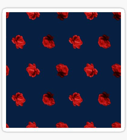 Polka Red Roses (on Blue) Glossy Sticker