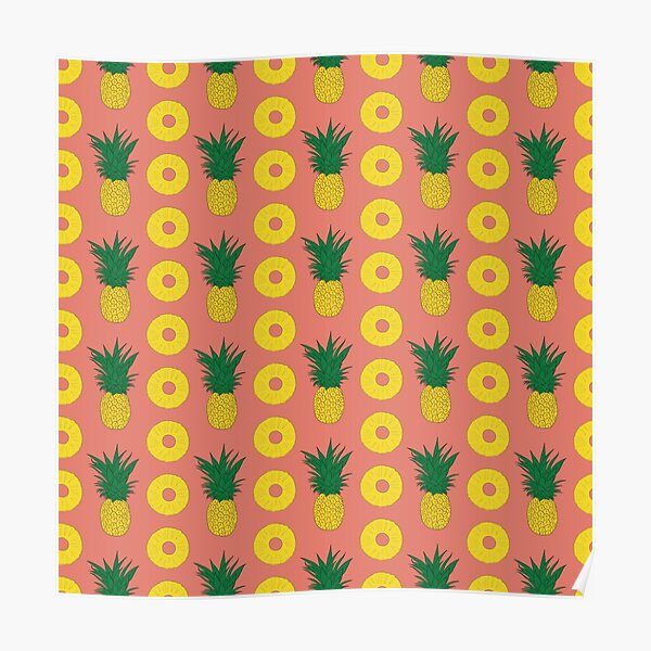 Pineapple and Slices Seamless Pattern Poster