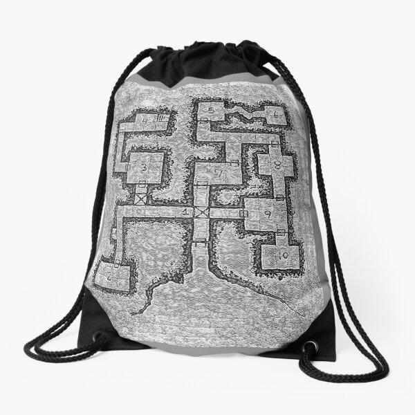 Old School Dungeon Map Design 3 Drawstring Bag
