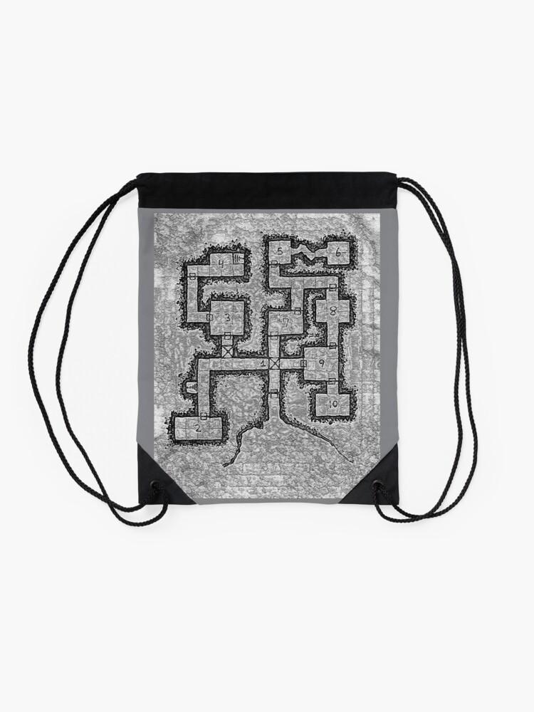 Alternate view of Old School Dungeon Map Design 3 Drawstring Bag