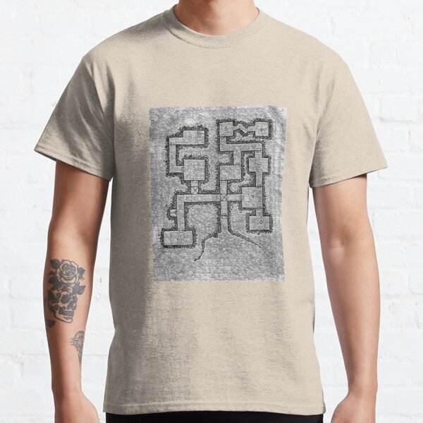 Old School Dungeon Map Design 3 Classic T-Shirt