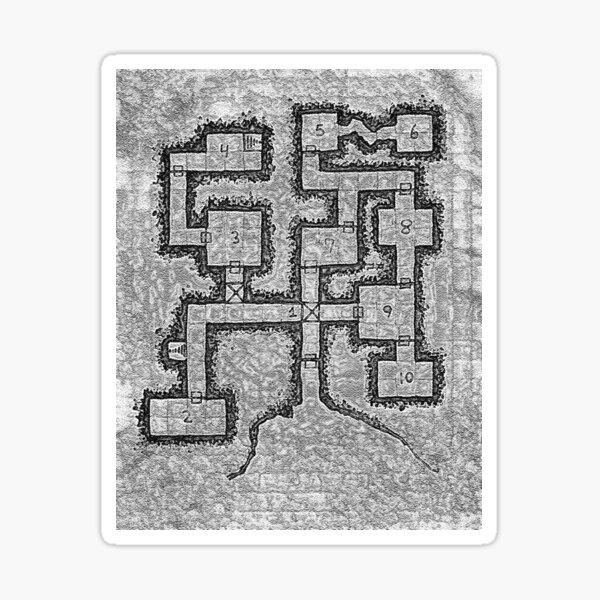 Old School Dungeon Map Design 3 Sticker