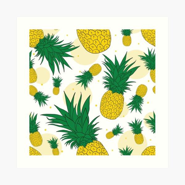 Pineapple Dots Seamless Pattern Art Print
