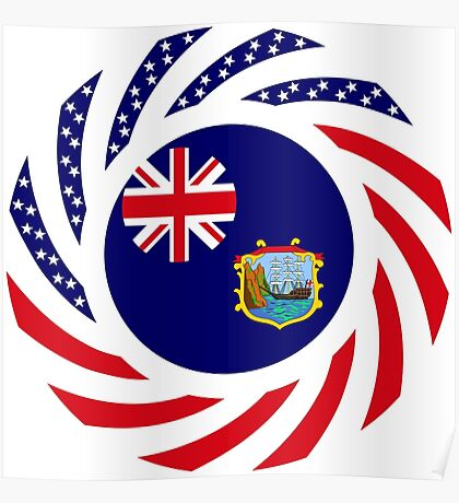 Saint Helena American Multinational Patriot Flag Series Poster