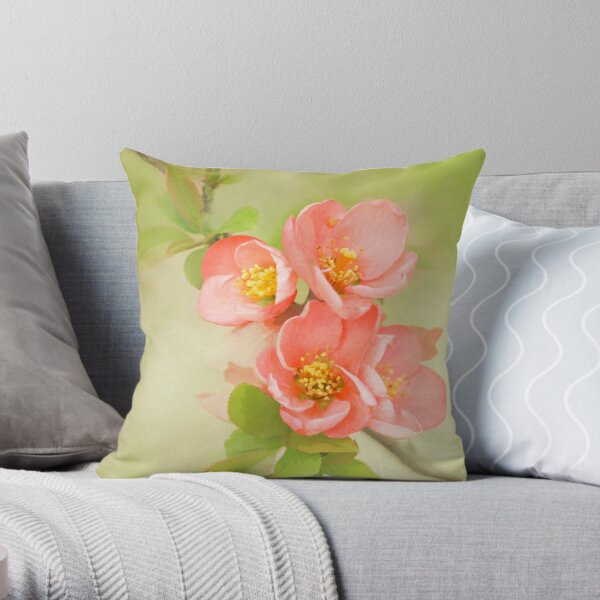 Coral & Green Watercolor Floral Throw Pillow