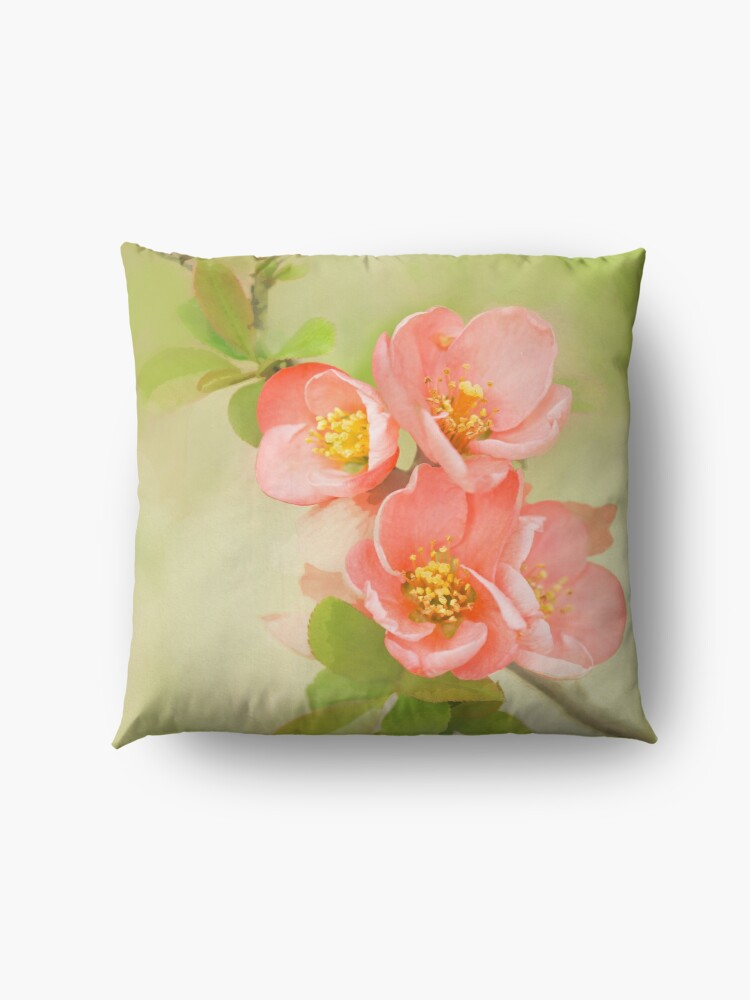Alternate view of Coral & Green Watercolor Floral Floor Pillow