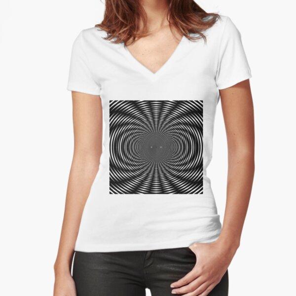 #Design, #abstract, #pattern, #illustration, psychedelic, vortex, modern, art, decoration Fitted V-Neck T-Shirt