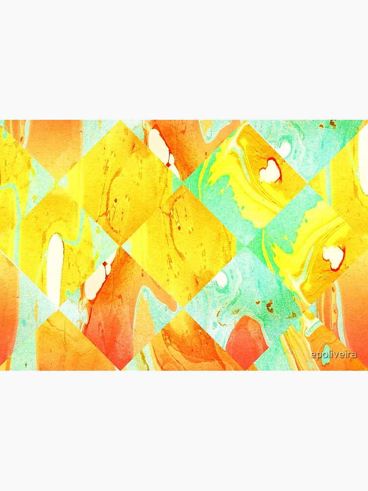 Yellow Orange and Green Colorful Abstract Geometric Marble Pattern  by epoliveira