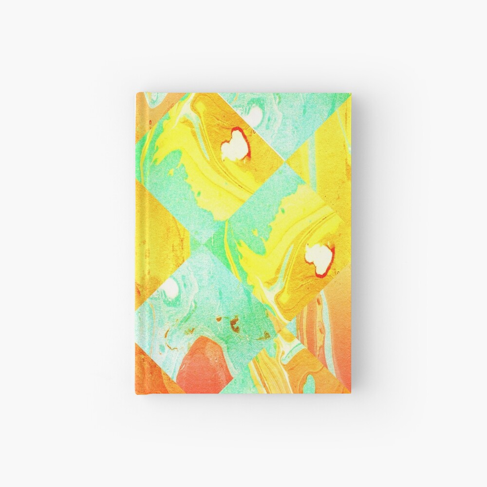 Yellow Orange and Green Colorful Abstract Geometric Marble Pattern  Hardcover Journal