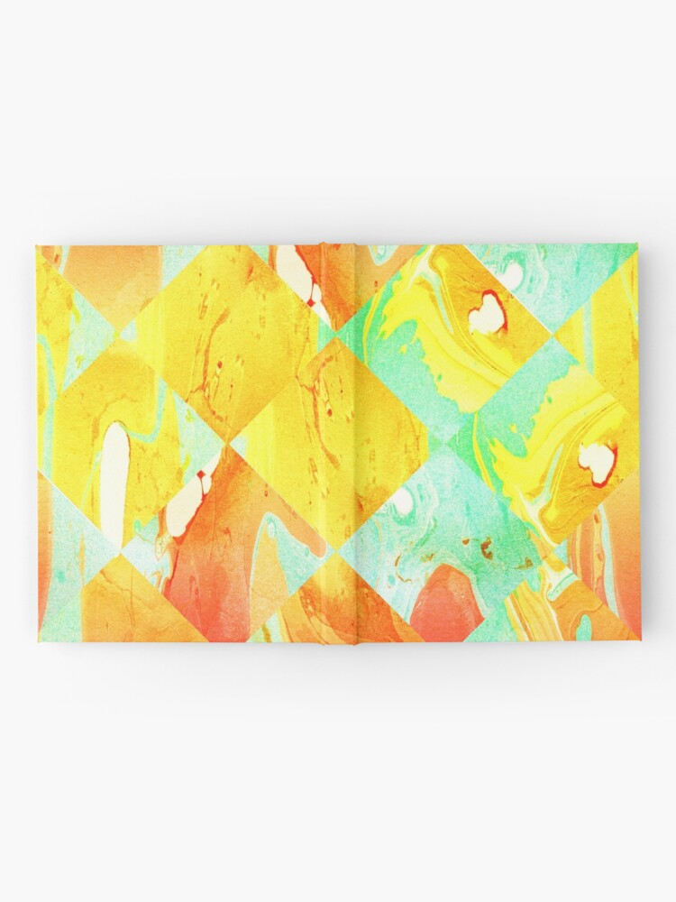 Alternate view of Yellow Orange and Green Colorful Abstract Geometric Marble Pattern  Hardcover Journal