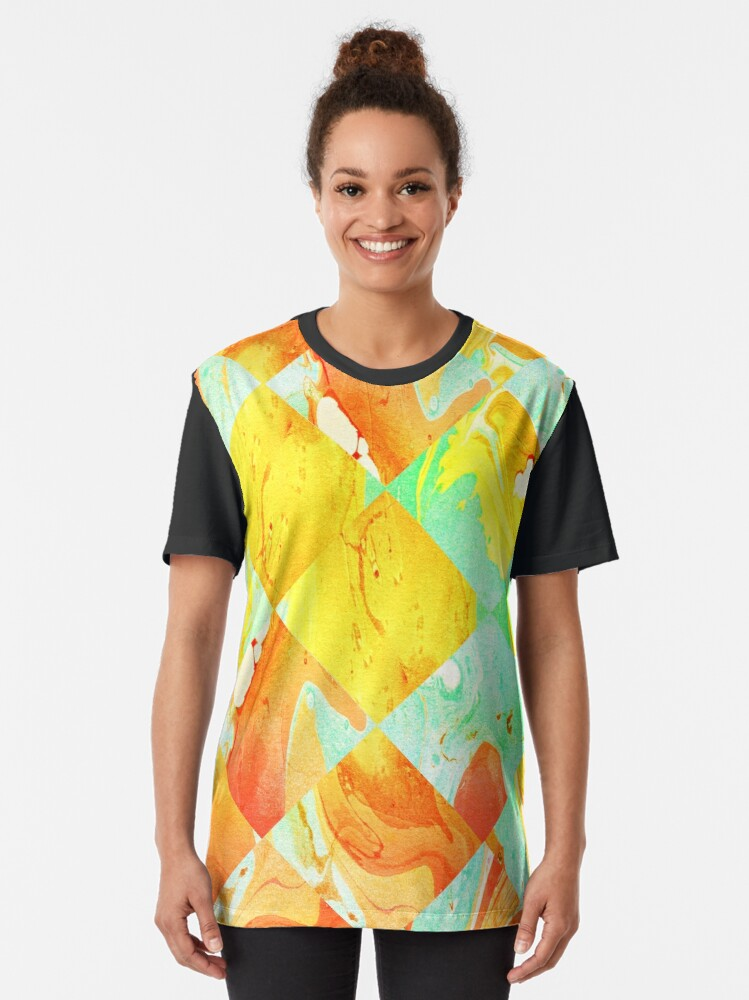 Alternate view of Yellow Orange and Green Colorful Abstract Geometric Marble Pattern  Graphic T-Shirt