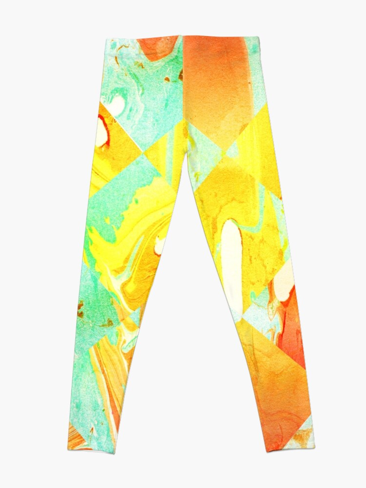 Alternate view of Yellow Orange and Green Colorful Abstract Geometric Marble Pattern  Leggings