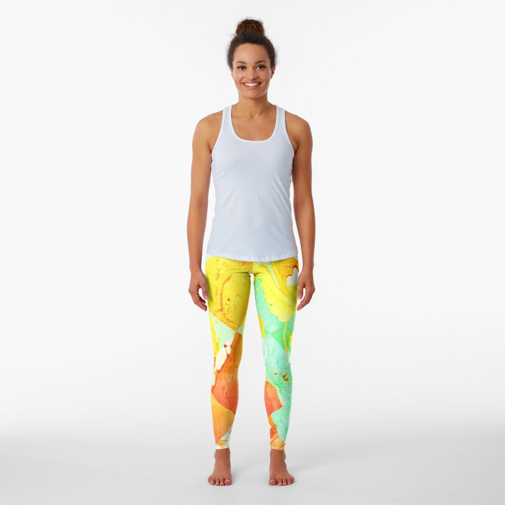 Yellow Orange and Green Colorful Abstract Geometric Marble Pattern  Leggings