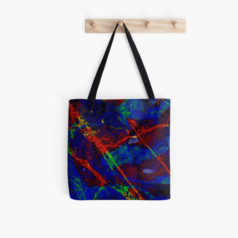 Colorful Red Blue Marble Pattern Tote Bag