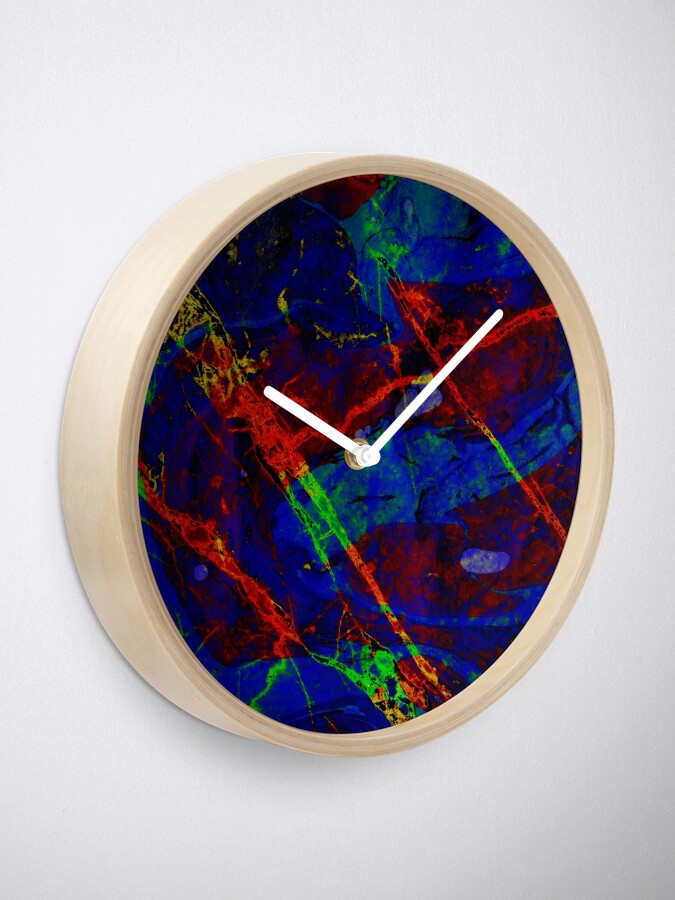 Alternate view of Colorful Red Blue Marble Pattern Clock